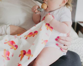 Pink watercolor buffalo /// Baby organic cotton swaddle blanket