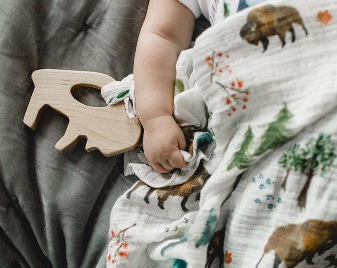 Heirloom Buffalo Teether | Maple Hardwood and Organic Cotton Lovey