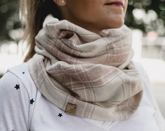Blush + Cream Plaid | Flannel Cowl Neck Infinity Scarf