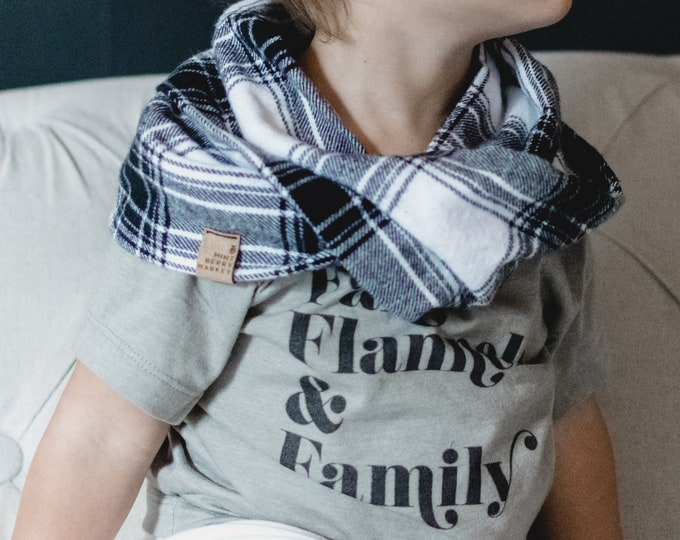 Black + White Plaid | Toddler Flannel Cowl Neck Infinity Scarf