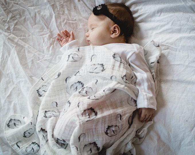 Swan   Organic Double Gauze Baby Swaddle