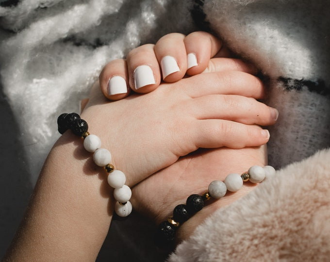 Mom + Me Bracelet Set | Precious Agate Stone Adult + Child Bracelet