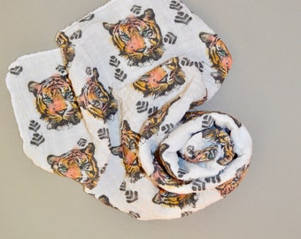 Tiger Watercolor /// Baby organic double gauze swaddle