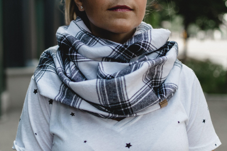 Plaid flannel scarves Classic Plaid Black White Plaid Flannel Cowl Neck Infinity Scarf