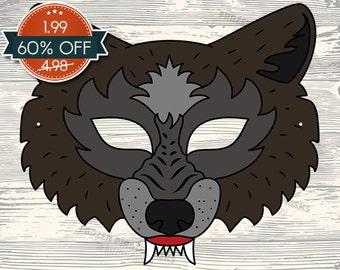 image relating to Printable Wolf Mask Template for Kids called Huge undesirable wolf mask Etsy