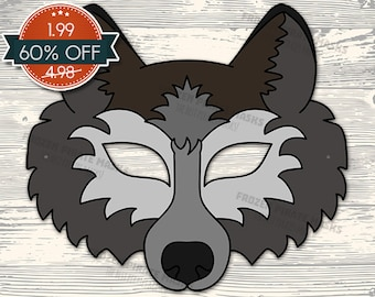 60% OFF SALE Wolf Mask Printable wolf costume animal mask grey wolf masks kids mask wolf masquerade wolf halloween