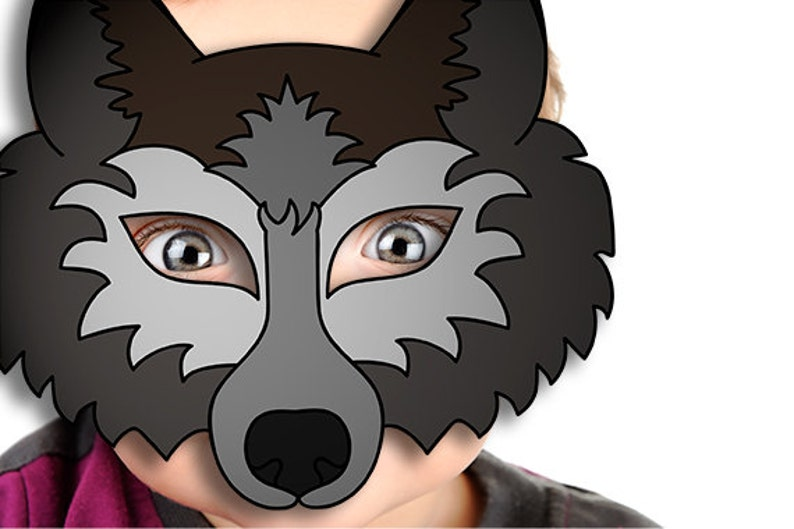 graphic regarding Wolf Mask Printable named 60% OFF SALE Wolf Mask Printable wolf gown animal mask gray wolf masks young children mask wolf masquerade wolf halloween