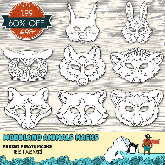 60% OFF SALE Woodland Forest Animals Printable Coloring Masks