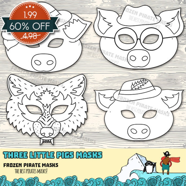 picture about Three Little Pigs Printable named 60% OFF SALE The A few Small Pigs Printable Coloring Masks, Huge Poor Wolf