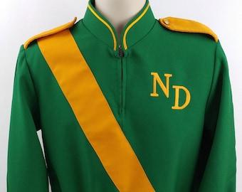 Vintage Marching Band Uniform Shirt or Jacket ,Size 36 Reg, Green & Gold, Drum Major
