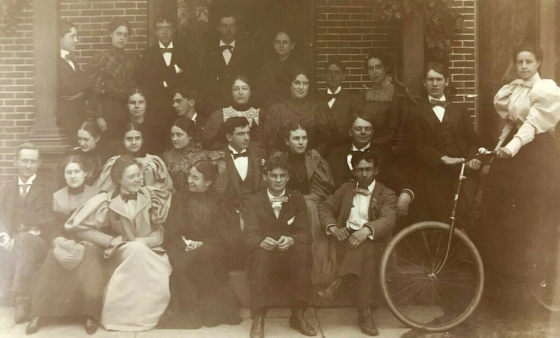 1910s Young Men /& Women Cabinet Photograph Woman on Bicycle Bow Ties Social Club