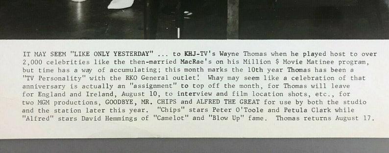 1960s Wayne Thomas Photo Gordon Sheila MacRae RKO KHJ TV Personality Million Dollar Movie Matinee