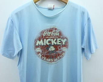 12b2d5e3fa97d6 Vintage Coca Cola Mickey Mouse Soft Drink T-Shirt Animation Street Wear  Punk Rock Top Tee Size M