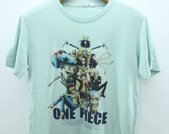 Vintage One Piece Character Pirates T-Shirt Japanese Anime Souvenir Street Wear Top Tee  Size L
