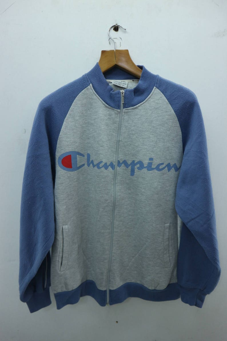 59c25e69792 Vintage Champion Full Zipper Jacket Sweatshirt Sport Street Wear Swag Hip  Hop Sweater Size L