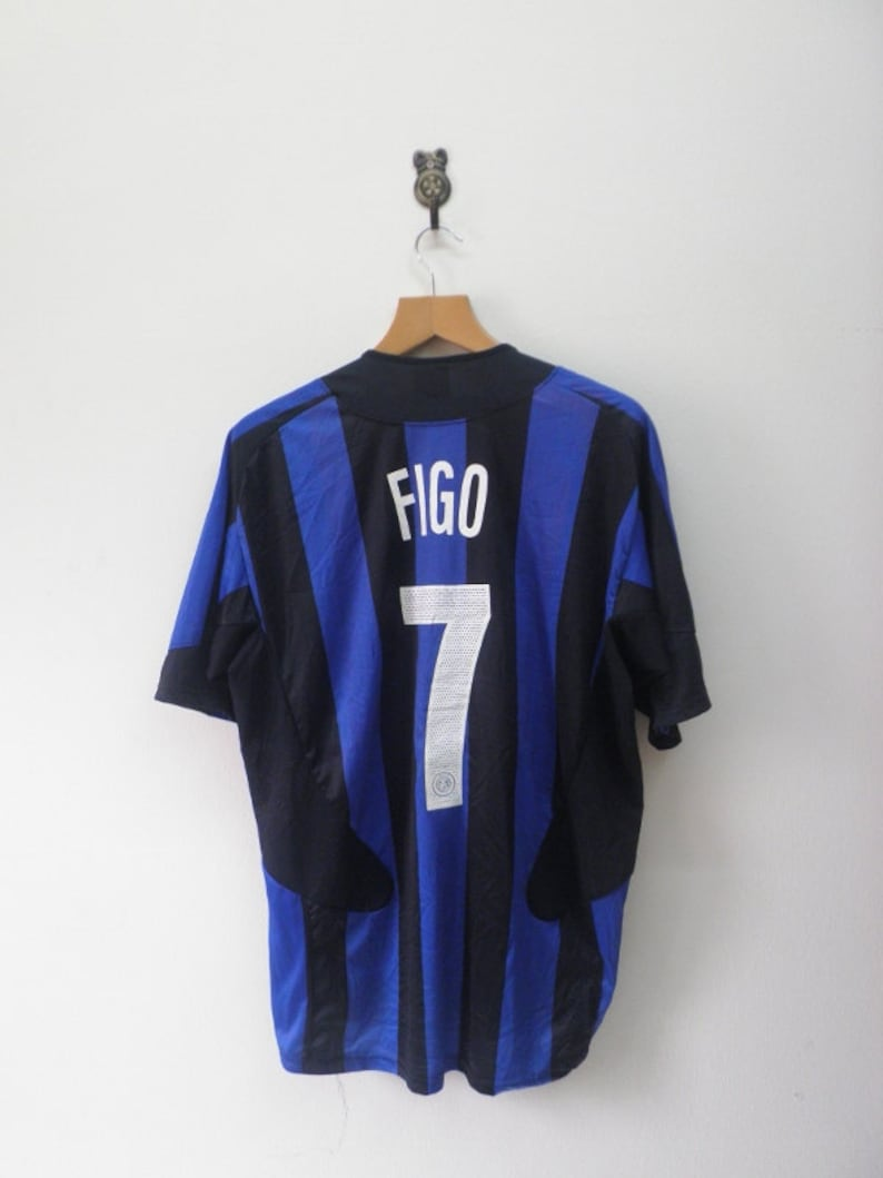 low priced bcf5d 15f62 Vintage Inter Milan No.7 Luis Figo Football Jersey Outdoor Sport Wear Top  Tee