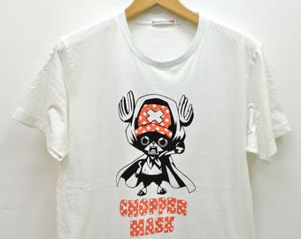 Vintage One Piece Tony Tony Chopper T-Shirt Japanese Pirates Anime Street Wear Top Tee  White Color Size XL