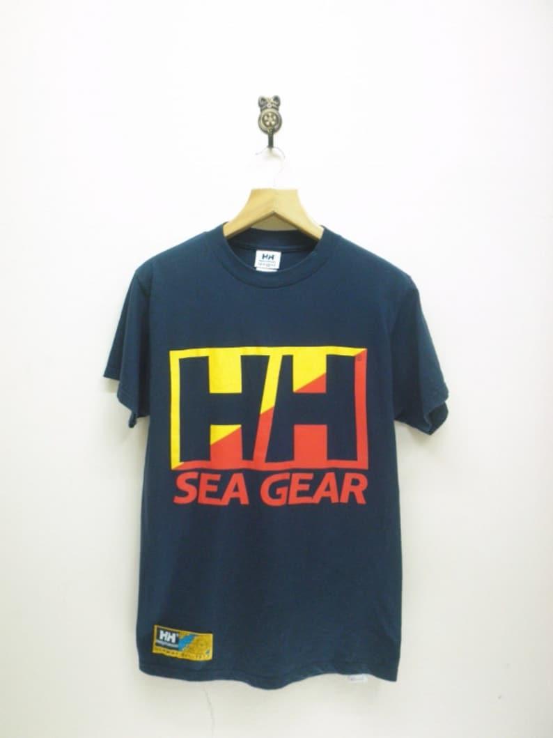 32d2fc36e138 Vintage Helly Hansen Sea Gear Big Logo T-Shirt Outdoor Sea