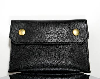 Black cowhide leather purse