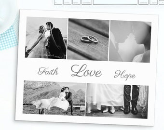 Nicole - Photoshop Collage Template - 16x20 5 Images, Faith Hope Love Photo Collage, Storyboard Templates, Photography Template