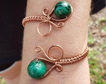 Wire-wrapped Malachite bracelet