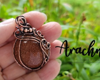 Copper wire-wrapped Goldstone Pumpkin Pendant