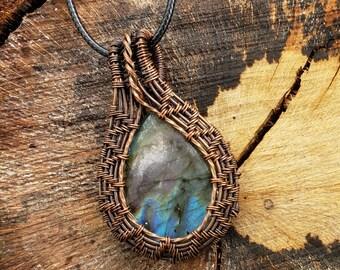 Copper wire-wrapped Labradorite Pendant