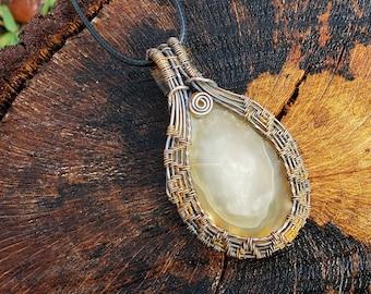 Copper wire-wrapped Agate Pendant