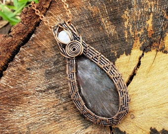 Copper wire-wrapped Turkish Tube Pendant