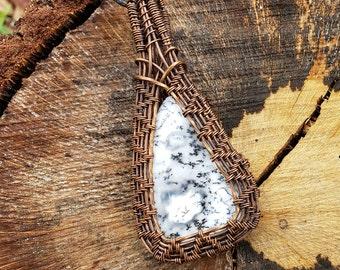 Copper wire-wrapped Dendritic Agate Pendant
