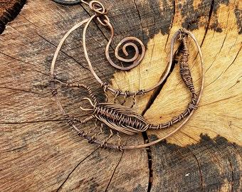 Copper wire-wrapped Scorpion Pendant