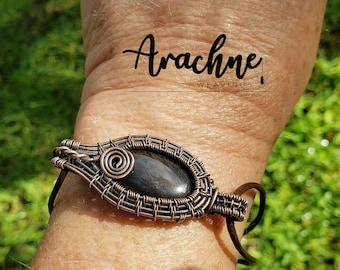 Copper Wire Wrapped Black Jasper and leather Bracelet