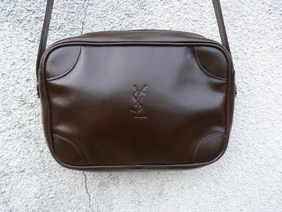 336b585d58b1 YVES SAINT LAURENT dark brown shoulder bag