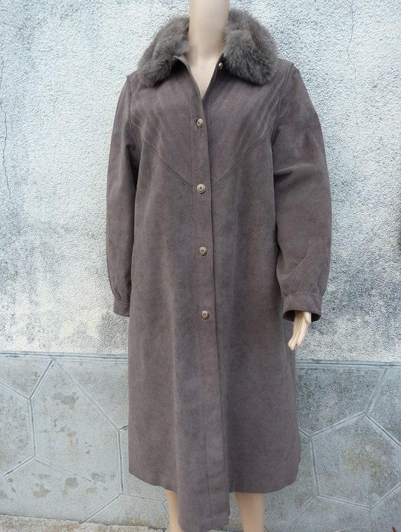 manteau long col fourrure et alcantara taille 44xxl BARONIA VON GOLLAS