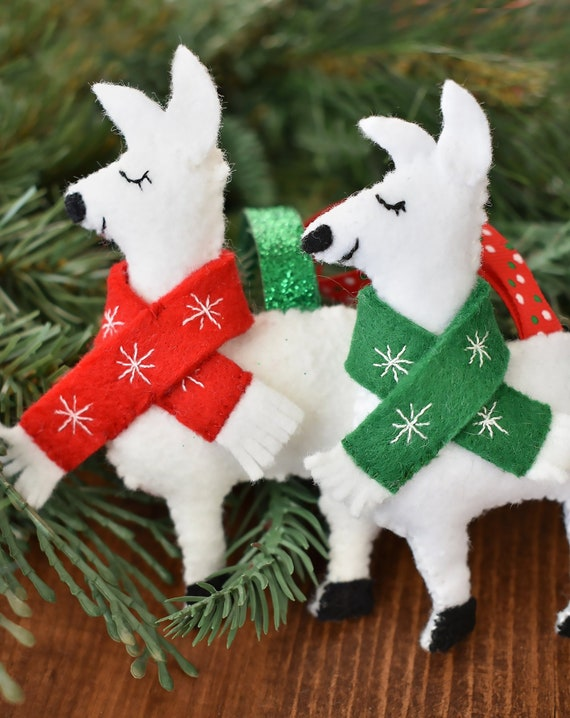 Llama Christmas Decorations.Handmade Llama Christmas Ornament Felt Holiday Alpaca Festive Llama Christmas Tree Decorations