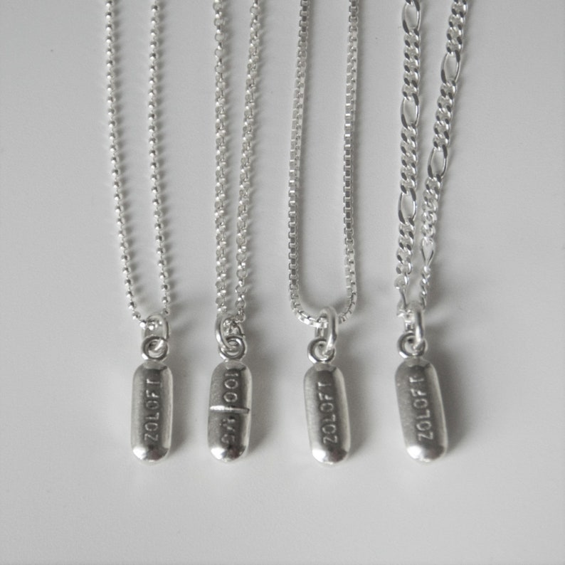 psychiatric nurse physician gift pill necklace Zoloft charm pendant psychiatrist gift pill jewelry PillBling antidepressant