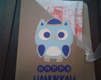 Happy Hanukkah Owl Hot Chocolate Pouch Holder with ribbon