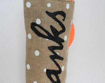 Wine Tote Made from Burlap with cotton blend lining with personality. All occasion. Re-giftable
