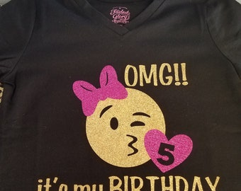 Customized Emoji Birthday Shirt YOU PICK COLORS