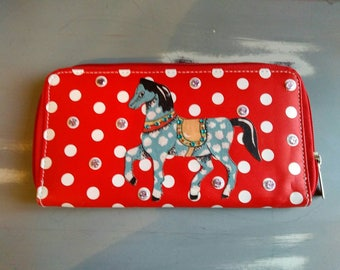 Blue horse red polka dot zip purse / wallet - circus horse purse - embellished blue polka dot horse purse - secret Santa - stocking filler