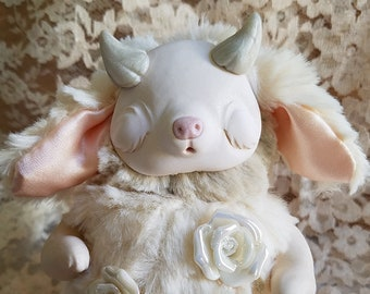 Aeden Lillylight- demon plush, ooak art doll, strange creature