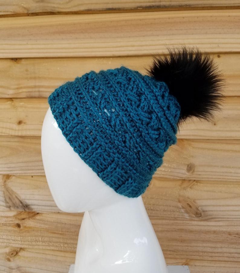 ac901c5ab65 Green crochet beanie beanie hat hat with faux fur pom pom