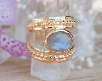 Gold Plated 14k Labradorite Ring * Gemstone * Handmade * Statement * Gift for Her * Jewelry *Bycila*February Birthstone*Bohemian*Boho*BJR009