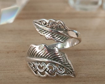 Feather Ring * Sterling Silver * Handmade * Boho * Bohemian * Hippie * Adjustable * Silver Ring * Hippie BJR105