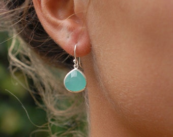 Genuine Chalcedony Bead Dangle Earrings With Silver-tone Stainless Steel Spikes Dyed