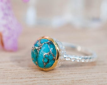 Copper Turquoise Ring * Sterling Silver 925 * Thin * Solitaire * Bridal * Statement * Gemstone *Bridesmaid*Blue*Handmade*Gift for Her*BJR021