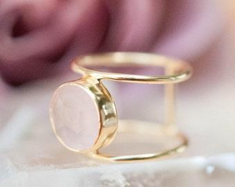 Rose Quartz Ring * Gold Ring * Statement Ring * Gemstone Ring * Pink * Bridal Ring * Wedding Ring * Organic Ring * Natural* BJR039
