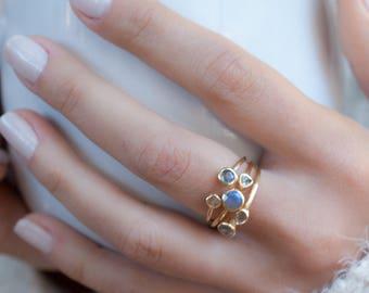 Rainbow Labradorite Gold Ring  * Adjustable *Gemstone * Handmade * February Birthstone * Semi Precious Stone *Statement*Boho*Bohemian*BJR183