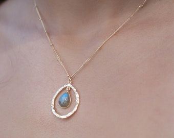 Labradorite * Aqua Chalcedony * Copper turquoise * Moonstone * Necklace * Dotted chain Gold Vermeil * Gemstone * Hammered * BJN004