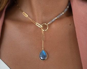 Rainbow Labradorite * Tear Drop * Lariat Necklace * Gold * Gemstone * Statement * Bycila *Bridesmaid * BJN049